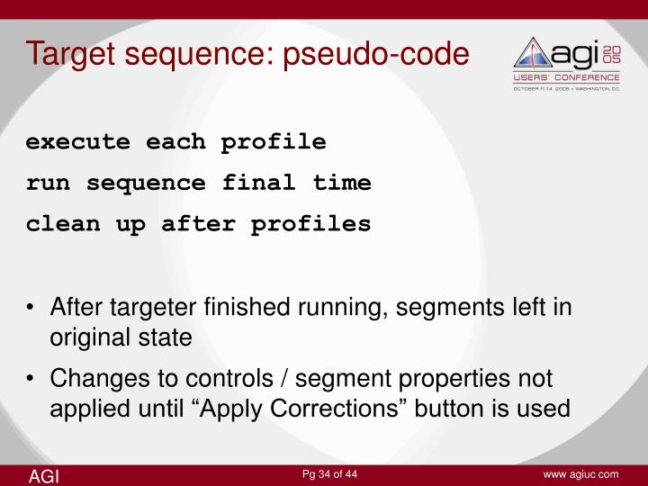 Target sequence: pseudo-code