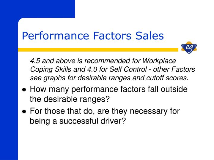 4.5 and above is recommended for Workplace Coping Skills and 4.0 for Self Control - other Factors see graphs for desirable ranges and cutoff scores.
