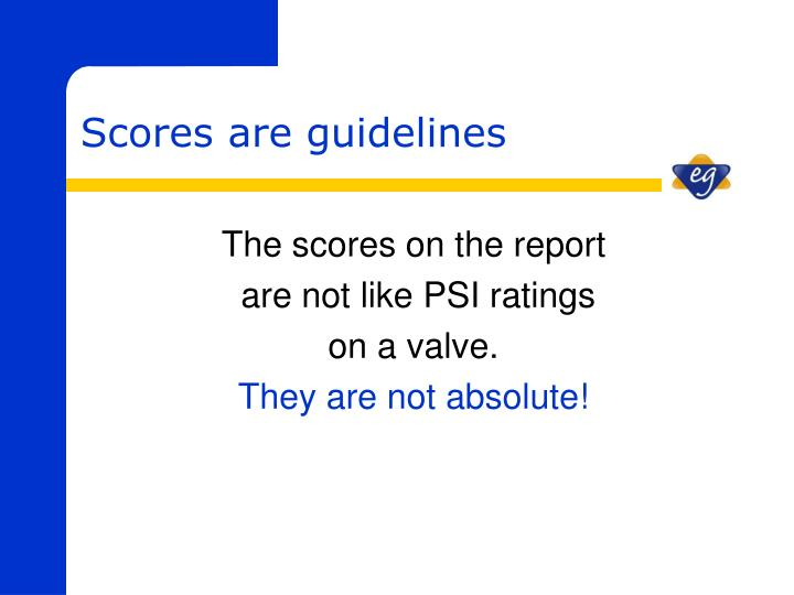 The scores on the report