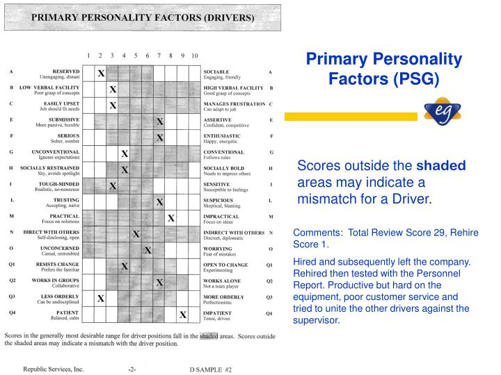 Primary Personality Factors (PSG)