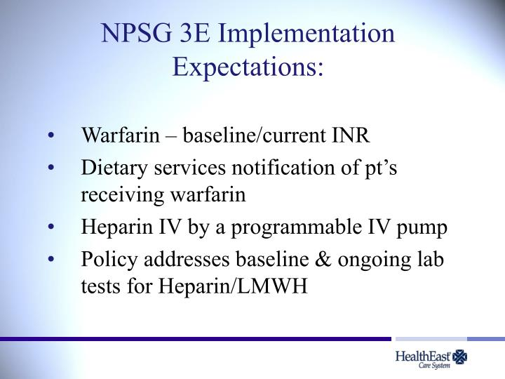 NPSG 3E Implementation Expectations: