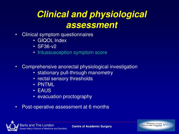Clinical and physiological assessment