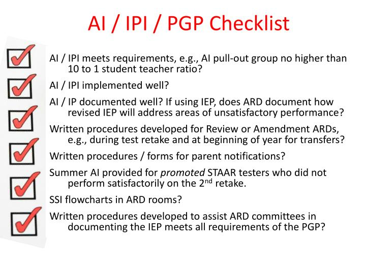 AI / IPI / PGP Checklist