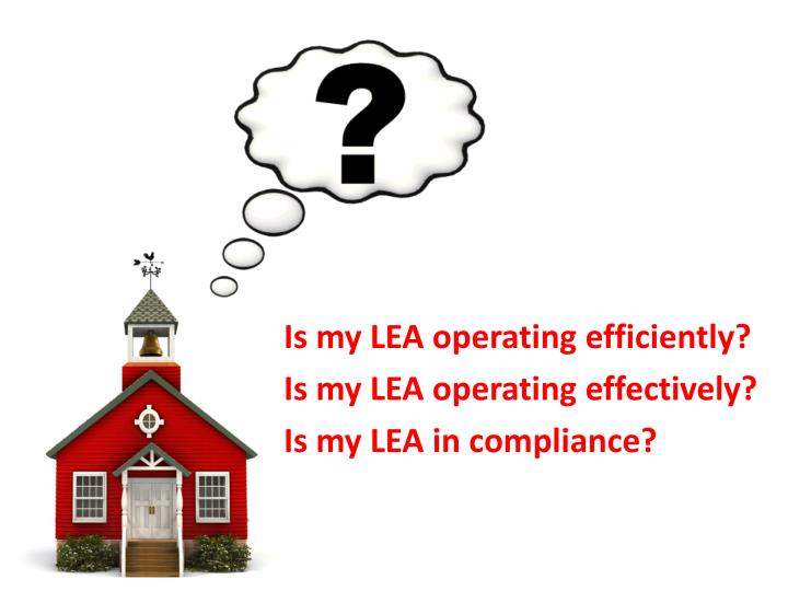 Is my lea operating efficiently is my lea operating effectively is my lea in compliance