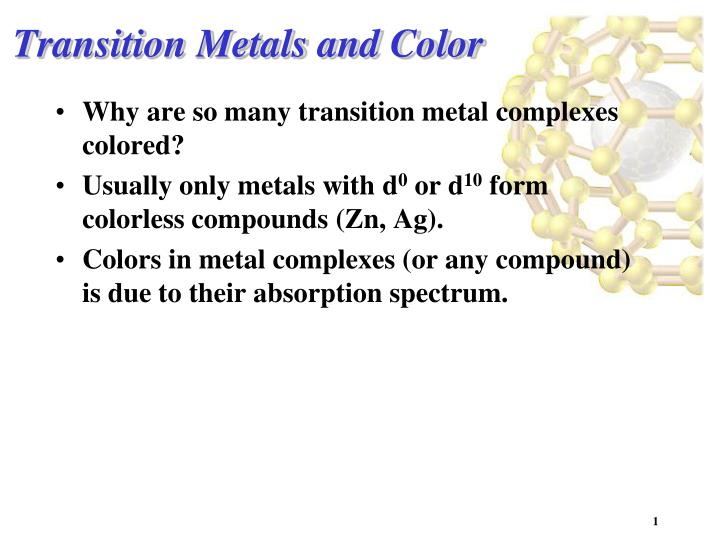 Transition metals and color