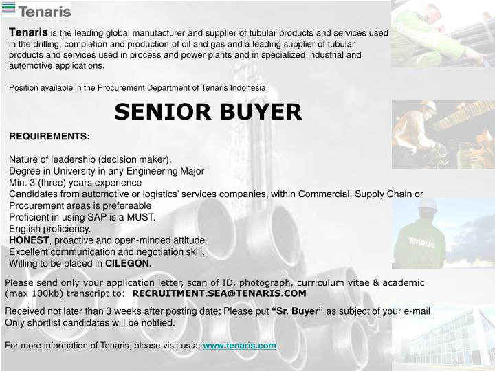 Position available in the Procurement Department of Tenaris Indonesia