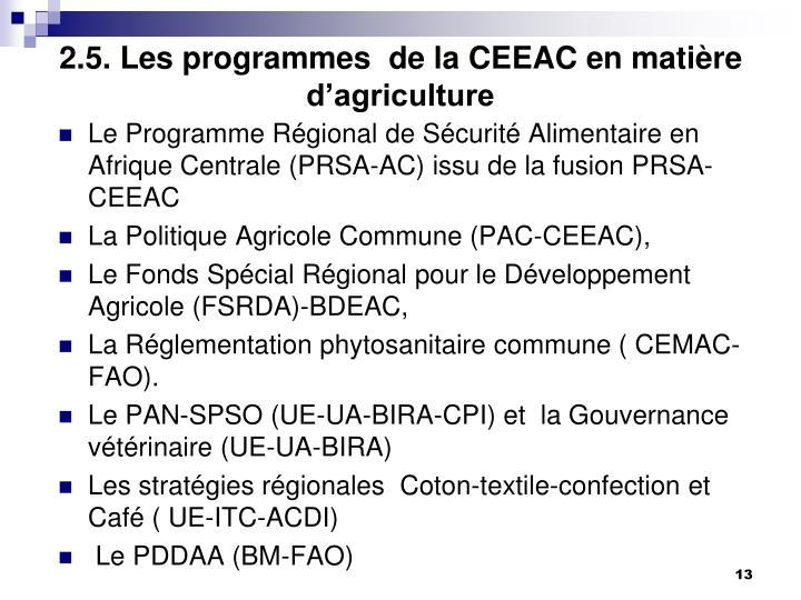 2.5. Les programmes  de la CEEAC en matière d'agriculture