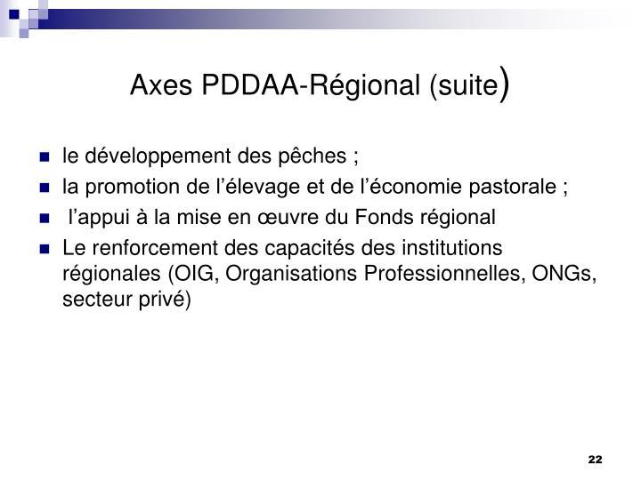 Axes PDDAA-Régional (suite