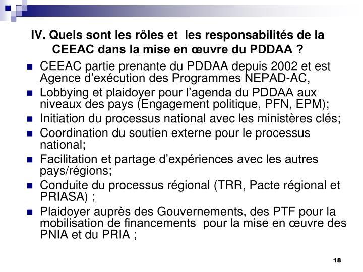 IV. Quels sont les rôles et  les responsabilités de la CEEAC dans la mise en œuvre du PDDAA ?
