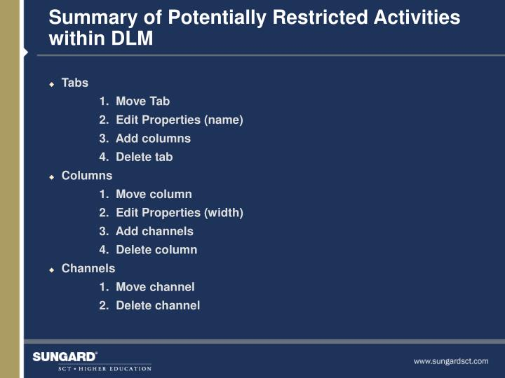 Summary of Potentially Restricted Activities within DLM