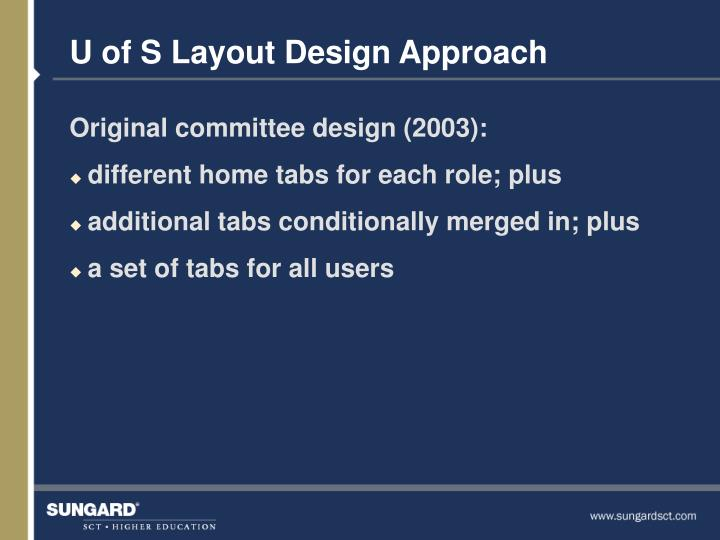 U of S Layout Design Approach