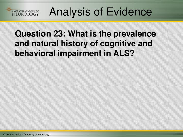 Analysis of Evidence