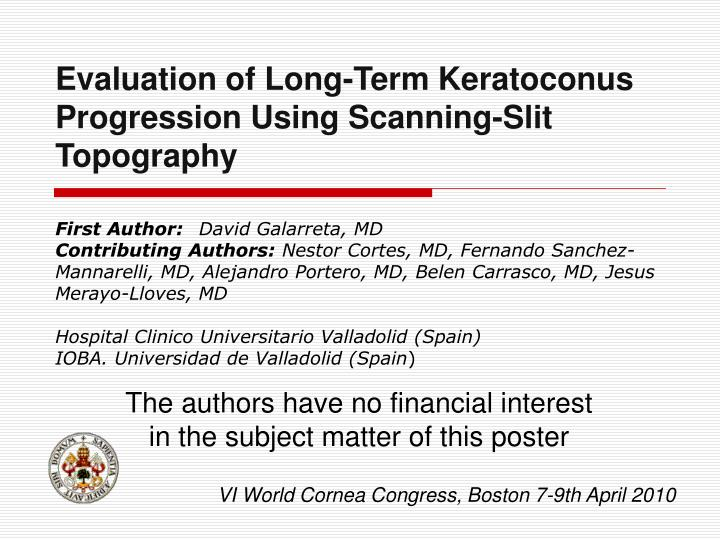 Evaluation of Long-Term Keratoconus Progression Using Scanning-Slit Topography