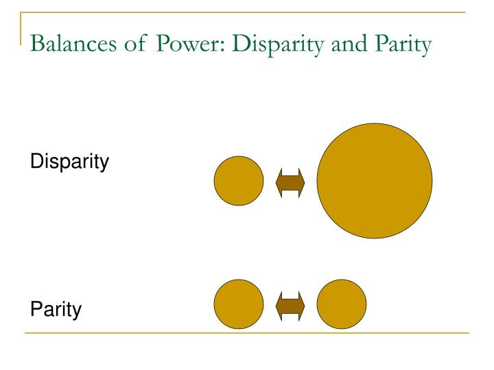 Balances of Power: Disparity and Parity