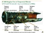 f 100 engine use of imported metals f 15 and f 16 aircraft key to air defense in 1980s