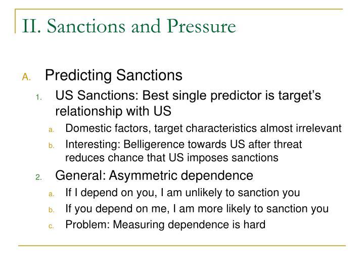 II. Sanctions and Pressure