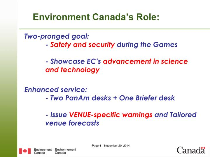 Environment Canada's Role: