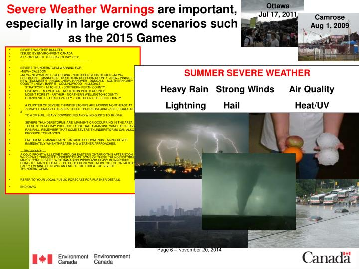 Severe Weather Warnings