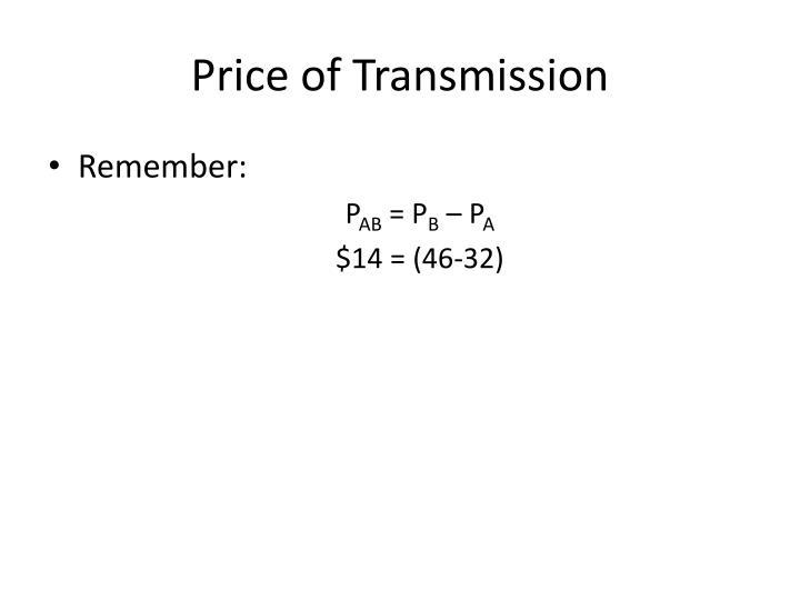 Price of Transmission