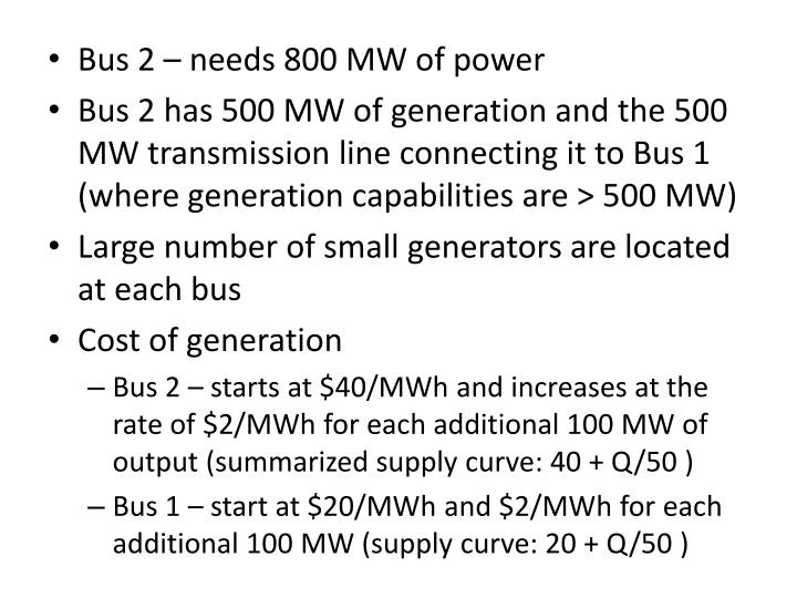 Bus 2 – needs 800 MW of power