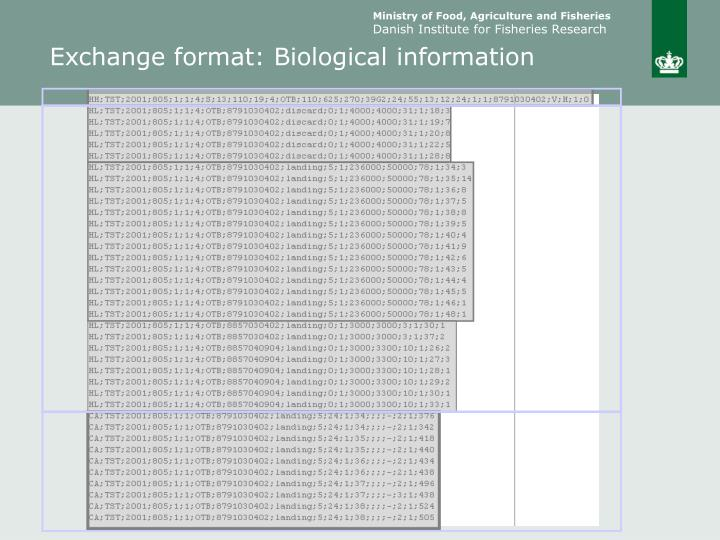 Exchange format: Biological information