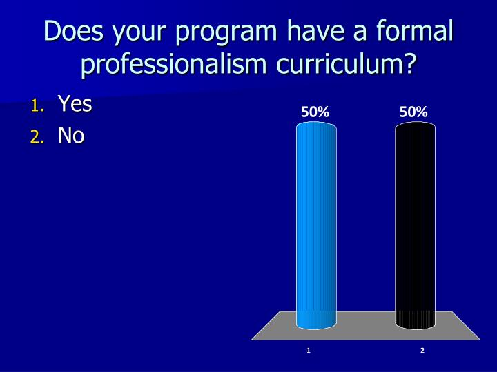 Does your program have a formal professionalism curriculum?