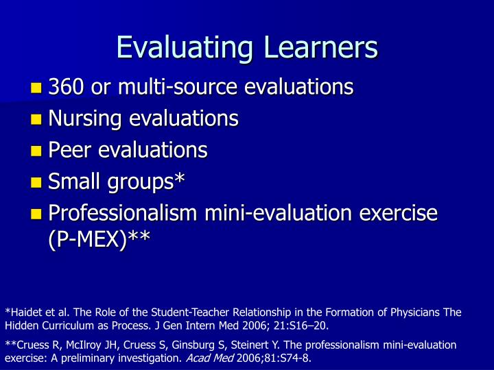 Evaluating Learners