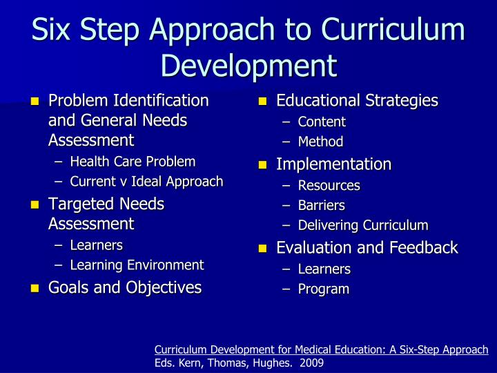 Six Step Approach to Curriculum Development