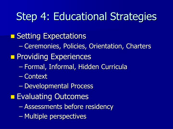 Step 4: Educational Strategies