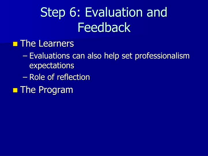 Step 6: Evaluation and Feedback