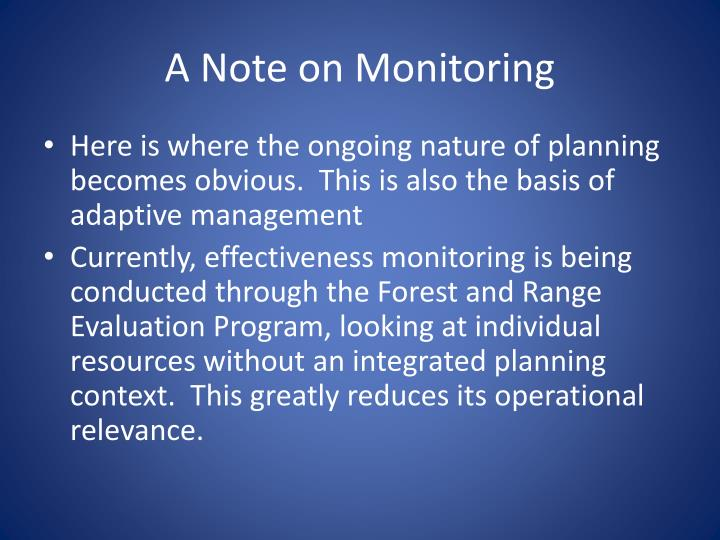 A Note on Monitoring