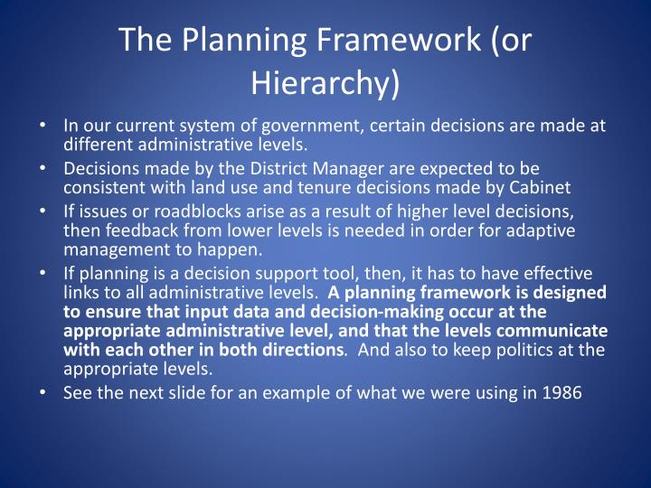 The Planning Framework (or Hierarchy)