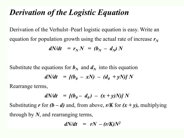 Derivation of the Logistic Equation