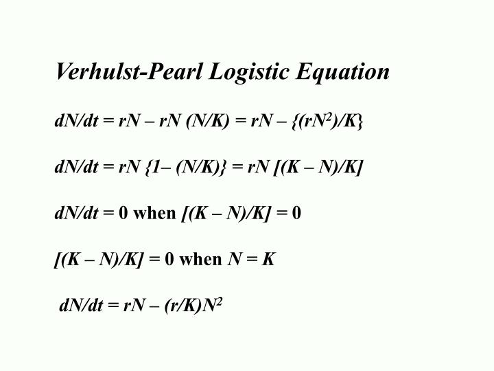 Verhulst-Pearl Logistic Equation