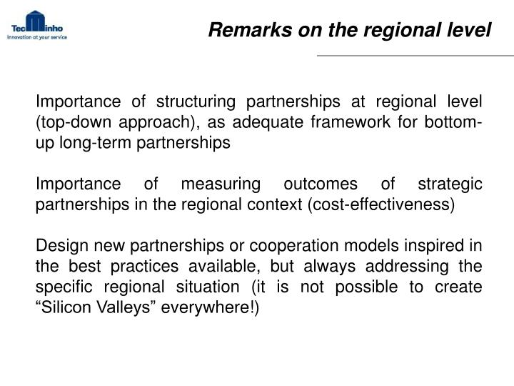 Remarks on the regional level