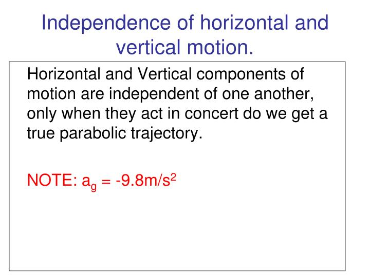 Independence of horizontal and vertical motion