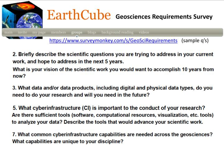 Geosciences Requirements Survey