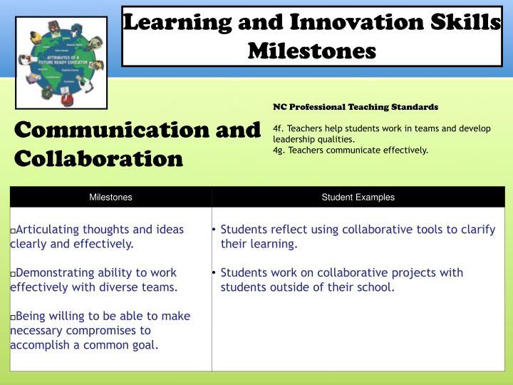 Learning and Innovation Skills Milestones