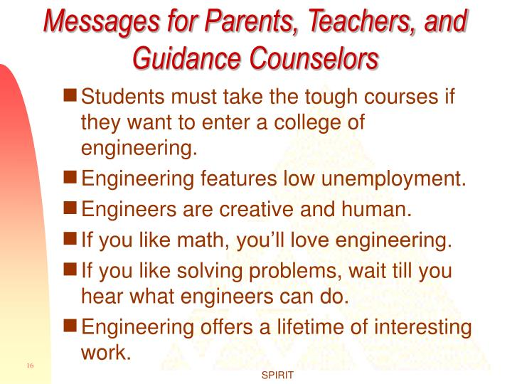 Messages for Parents, Teachers, and Guidance Counselors