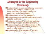 messages for the engineering community