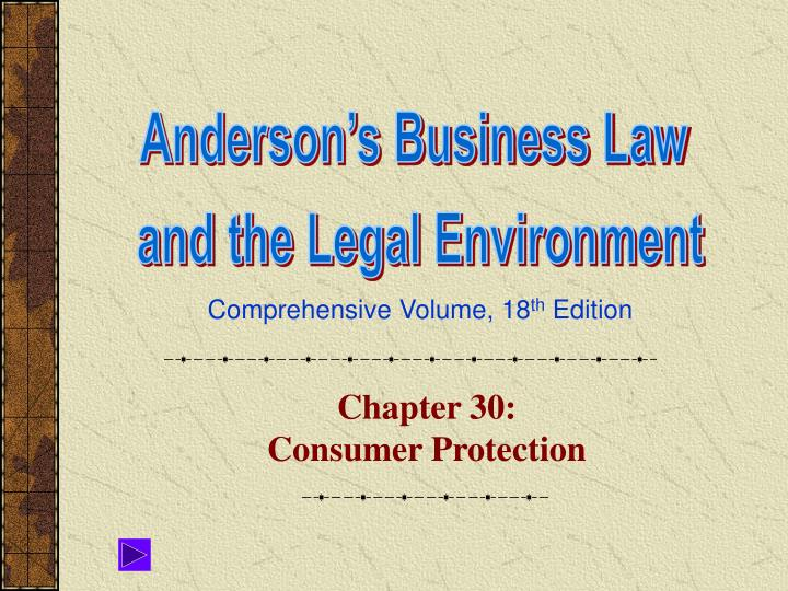 Chapter 30 consumer protection