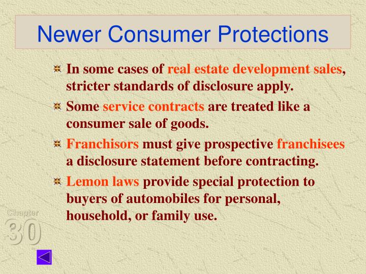Newer Consumer Protections