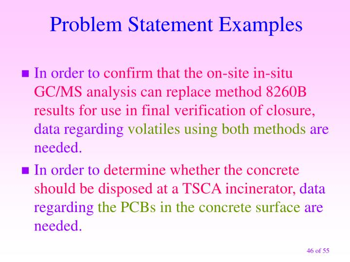 Problem Statement Examples