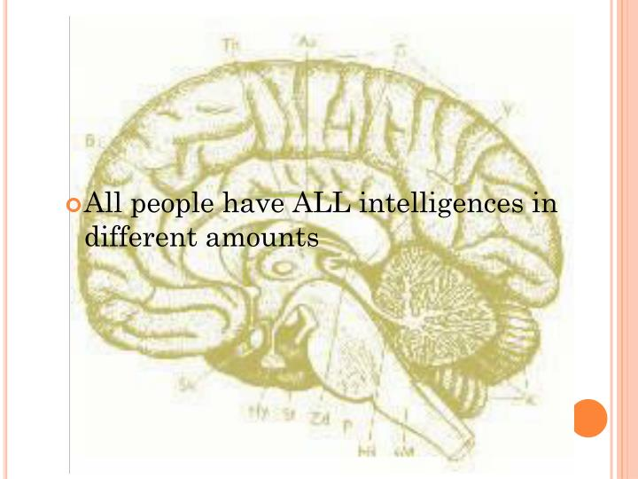 All people have ALL intelligences in different amounts