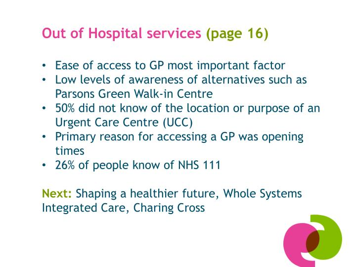Out of hospital services page 16