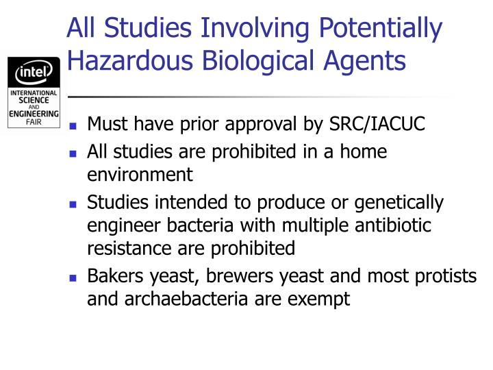All Studies Involving Potentially Hazardous Biological Agents