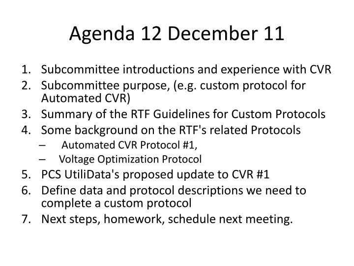 Agenda 12 December 11
