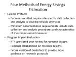 four methods of energy savings estimation1