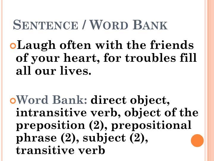 Sentence / Word Bank