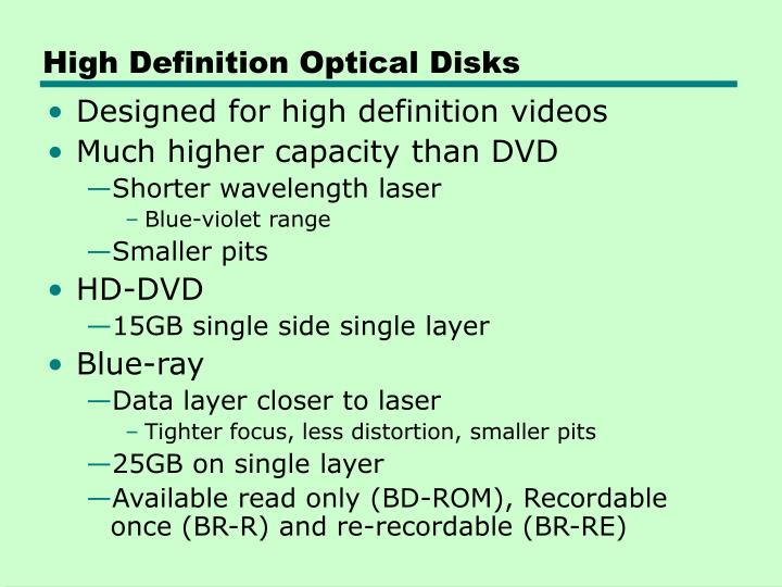 High Definition Optical Disks